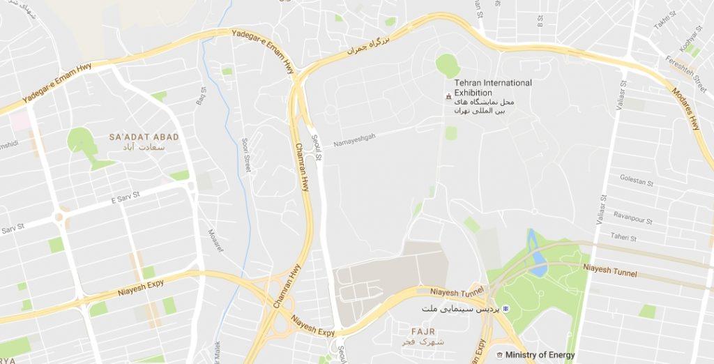 آدرس روی نقشه محل دائمی نمایشگاه های تهران